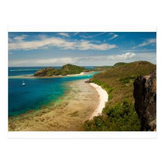 Ansicht entlang einen Strand in Fidschi Postkarte