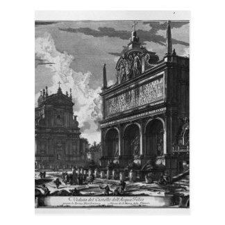 Ansicht in Perspektive des großen Brunnens Postkarte
