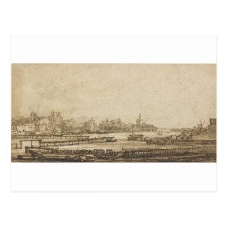 Ansicht über das Amstel vom Rampart durch Postkarte