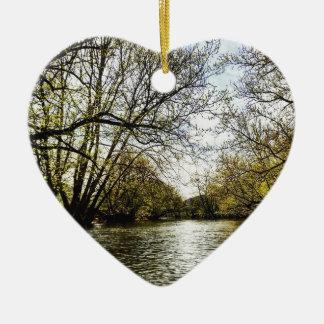 Ansicht vom Fluss Keramik Herz-Ornament