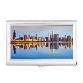 Ansicht von Chicago-Skylinen mit Reflexion Visitenkarten Etui
