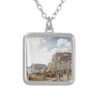 Ansicht von Neapel durch Rudolf von Alt Halskette Mit Quadratischem Anhänger