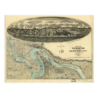 Ansicht von Vicksburg Mississippi Karte (1863)