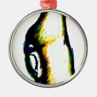 Anstarren in Verstand Rundes Silberfarbenes Ornament