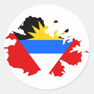 Antigua-Flaggenkarte Runder Aufkleber