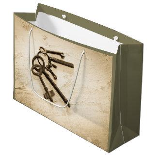 Antike Hauptschlüssel auf Ring-Geschenk-Tasche Große Geschenktüte
