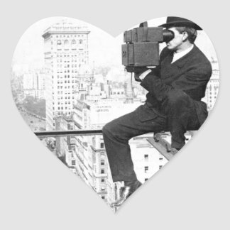 antike Kamera auf einem Vintagen Foto Stadt Herz-Aufkleber
