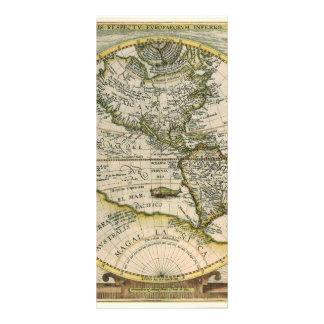 Antike Karte, Amerika Sive Novus Orbis, 1596 Werbekarte