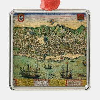 Antike Karte, Stadtplan von Lissabon, Portugal, Quadratisches Silberfarbenes Ornament
