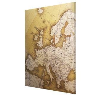 Antike Karte von Europa. Alte Welt Leinwand Druck