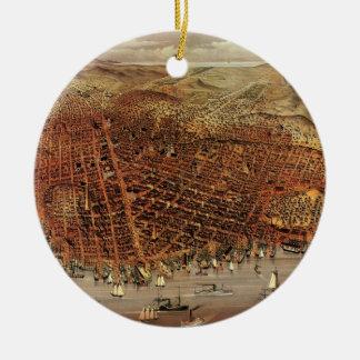 Antike Luftkarte von San Francisco, Kalifornien Keramik Ornament