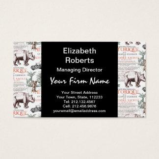 Antike Nashorn-Nashorn Abrecht Durer Art Visitenkarte