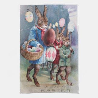 Antike Osterhasen-Parade-Postkarten-Ei-Laternen Küchentuch