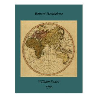 Antike Osthemisphäre-Karte Williams Faden 1786 Postkarte