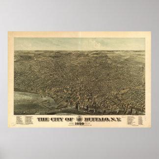 Antike panoramische Karte Büffel-New York 1880 Poster