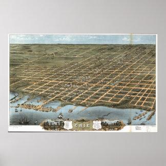 Antike panoramische Karte Eries Pennsylvania 1870 Poster
