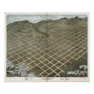 Antike panoramische Karte Salt Lake Citys Utah Poster