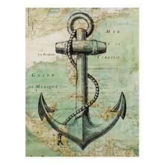 Antike Seekarte mit Anker Postkarte