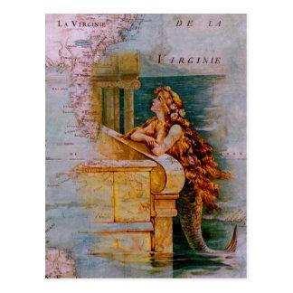 Antike Seekarte u. Meerjungfrau Postkarte