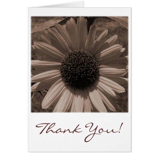 Antike Sonnenblume danken Ihnen zu kardieren Mitteilungskarte
