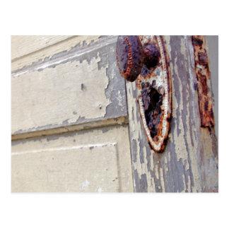 Antike Tür und Türgriff im Bauers-Zuhause Postkarte