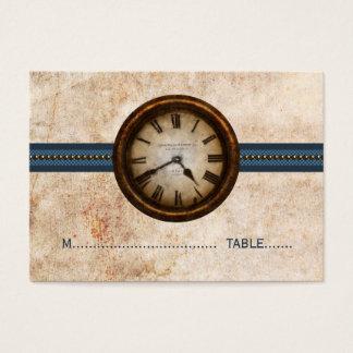 Antike Uhr-Platzkarte, blau Visitenkarte