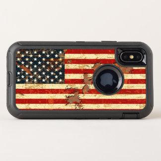 Antike verrostete amerikanische Flagge USA OtterBox Defender iPhone X Hülle