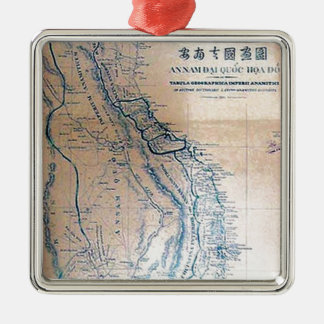 Antike vietnamesische Karte Silbernes Ornament