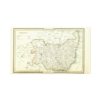 Antike Vintage Karte des Suffolks (England) Leinwanddruck