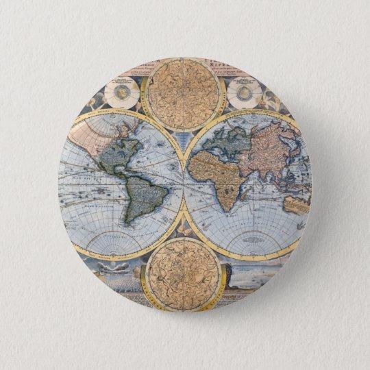 Antike Weltkarte cool Runder Button 5,7 Cm