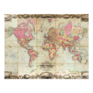 Antike Weltkarte durch John Colton, circa 1854 21,6 X 27,9 Cm Flyer