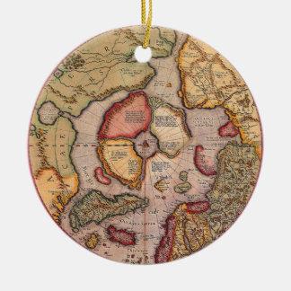 Antike Welts-Karte, Arktis Nordpol, 1595 Rundes Keramik Ornament