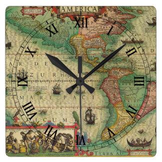 Antike Welts-Karte des Amerikas, 1606 Quadratische Wanduhr