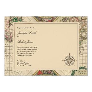Antike Welts-Karten-Hochzeits-Einladung 12,7 X 17,8 Cm Einladungskarte