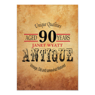 Antiken-90. Geburtstag Karte