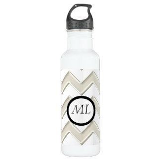 Antiken-Weiß auf weißem Zickzack Kreis-Monogramm Trinkflasche
