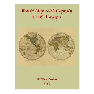 Antiken-Weltkarte 1786 durch William Faden Postkarte