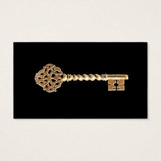 Antiker goldener GoldSteampunk Hauptschlüssel Visitenkarte
