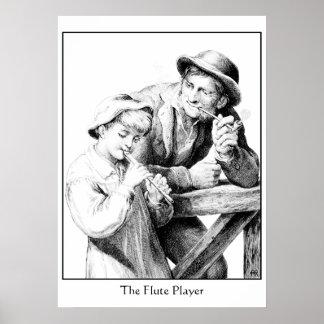 Antiker Holzschnitt des Schäfer-Jungen Flöte Poster