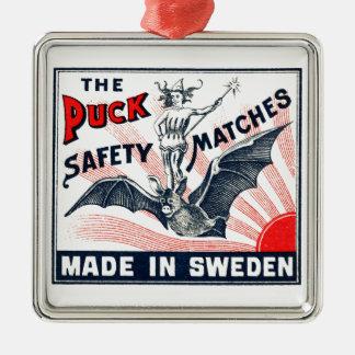 Antiker Kobold-Reitschläger-schwedischer Silbernes Ornament
