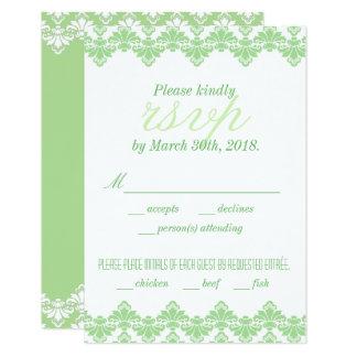 Antiker Menü-Frühling Damast-Hochzeit UAWG 8,9 X 12,7 Cm Einladungskarte