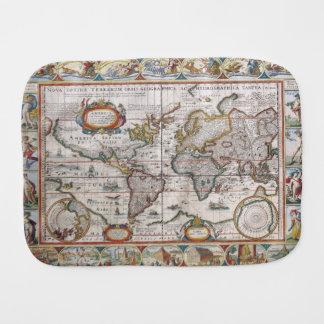 Antiker Weltkarte Burpstoff Spucktuch