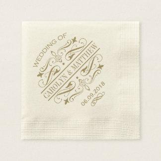 Antikes Gold der Hochzeits-Monogramm-Servietten-| Papierservietten