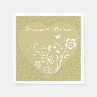 Antikes Goldblumenherz-personalisierte Hochzeit Serviette