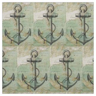 Antikes Seekarten-u. Anker-Gewebe durch das Yard Stoff