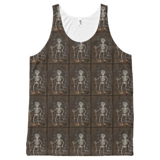 Antikes Skeleton gespenstisches gotisches Komplett Bedrucktes Tanktop