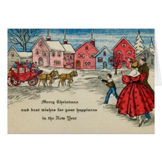 Antikes WeihnachtsVintager neues Jahr-Wagen Karte