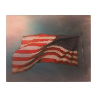 Antiqued Flagge-hölzerner Druck 14 x 11 Holzleinwand