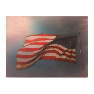 Antiqued Flagge-hölzerner Druck 24 x 18 Holzleinwand