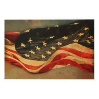 Antiqued Flagge-hölzerner Druck 6 x 24 Holzdruck